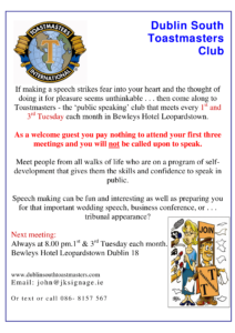 Toastmasters promotion notice