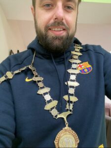 Ruairi wearing the chains of office